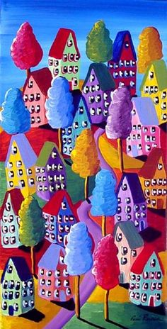 Colorful Houses Trees Whimsical Folk Art Painting Original via Etsy