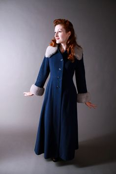 Vintage 1970s Coat  Long Winter Coat in Navy Blue with by FabGabs,