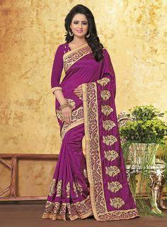 Purple Art Silk Saree With Blouse 91166