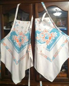 Vintage tablecloth aprons by DoodleBugBonnie $25