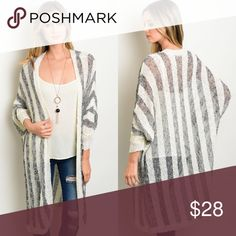 Gray & Ivory Striped Knit Long Cardigan New with tags. Gray and ivory striped open front knit long cardigan. Available in S, M, L.                    70% acrylic, 30% cotton.                                              PRICE IS FIRM UNLESS BUNDLED.                        ❌SORRY, NO TRADES. Boutique Sweaters Cardigans