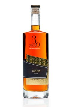 3ZERO Gold Rum packaging on Packaging Design Served