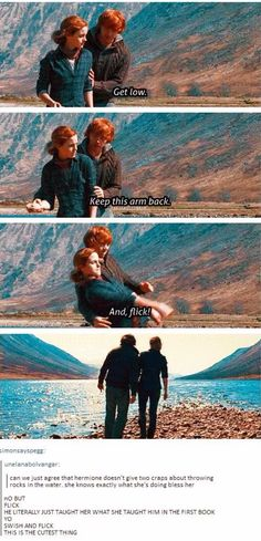 And I'm pretty sure skipping stones on water is more of a muggle thing which means Ron knows how to do something that muggles can do that she doesn't.