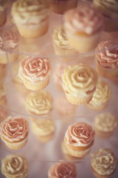 LOVE THIS! Blush pink and white, almond cake (maybe we can get champagne sparkling almond, lemon almond, strawberry almond, praline almond, combo?)  wedding cupcakes.