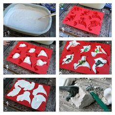Great idea for a boy's party favor! Make your own dinosaur fossil! For girls you could do a different mold with jewelry in it