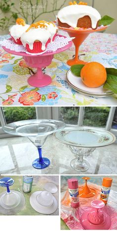 DIY - Repurposing old dishware into neon spray painted dessert stands. Step-by-Step tutorial with thorough instructions and tips.