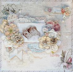 Lovely...beautifully feminine page with slightly monochromatic use of a soft blue background and vintage pastel accents for a delicate color contrast. A lacy frame with ribbon accents and antique flower clusters frame this retro portrait perfectly...a truly 'lovely' heritage page.
