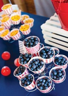 Blueberry filled cups for first birthday. See more 1st boy birthday food and party ideas at one-stop-party-ideas.com