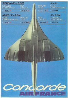 Concorde Brazilian advertising for the Paris- Rio route