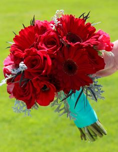 red and teal wedding flowers
