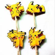 24PCS Yellow Pokemon Cupcake Topper Picks Birthday Party Decorations