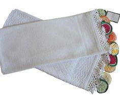 Pano de prato e toalha com crochê