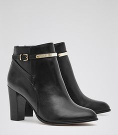 Womens Black Ankle-strap Leather Boots - Reiss Mia
