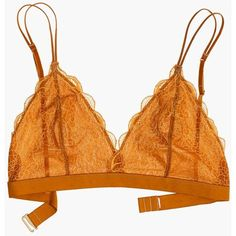MADEWELL Lace Liana Triangle Bralette (142935 PYG) ❤ liked on Polyvore featuring intimates, bras, golden pecan, bralette bras, lace bra, lace triangle bra, madewell and lacy bras