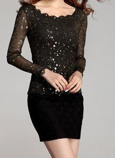 New Years Eve Outfits, Mesh Long Sleeve, Shirt Blouses, Peplum Dress, Sequins, Slim, Formal Dresses, Lace, Womens Fashion