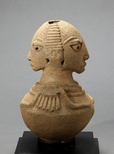 Africa | Jar Depicting Twins from the Nok culture of Nigeria | 500 BC to 200 AD | Terracotta