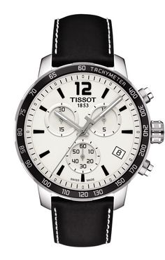 Tissot Quickster Men's Quartz Chronograph Silver Dial Watch with Black Leather Strap
