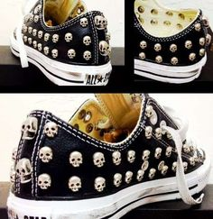 look at these awesome skullies. Thanks Von Crazy Shoes, Me Too Shoes, Sock Shoes, Shoe Boots, Skull Shoes, Skull Fashion, Converse Shoes, Studded Converse, Custom Shoes