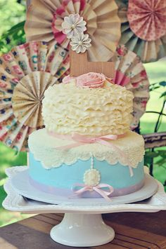 Vintage Shabby Chic Birthday Party cake!  See more party ideas at CatchMyParty.com!