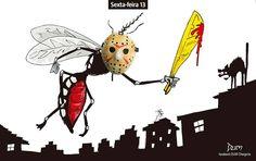 Charge de opinião do Dum sobre a febre amarela e a sexta-feira 13 (13/01/2017) #Charge #Dum #FebreAmarela #SextaFeira13 #Jason #Mosquito #Dengue #Zika #AedesAegypti #Chikungunya #Saúde #HojeEmDia