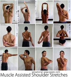 Many of these are yoga positions. Work to achieve them slowly. With time it will come. ~ Muscle assisted shoulder stretches: tricep stretch, one arm over the head, both arms over the head, cow face yoga position, grab an elbow be. Yoga Fitness, Fitness Workouts, Sport Fitness, Health Fitness, Arm Workouts, Fitness Diet, Fitness Motivation, Tricep Stretch, Arm Stretches