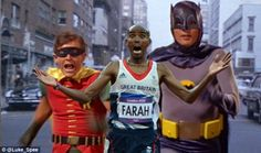 Good thing he can run fast: Olympic star Mo appears to be on the run from comic book heroes Batman and Robin in this clever picture