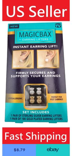 MagicBax Earring Lifters 2 Pairs of Adjustable Hypoallergenic Earring back Lifts Gold Plated Earrings, Sterling Silver Earrings, Earring Backs, Earring Set, Back Lift
