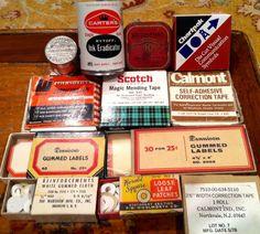 LOT 12 Vintage Typewriter Ribbon Tin Correction Tape Ink Remover Dennison Labels