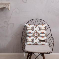 Kissen • Fakir – Variation 2, blau, grau, rot, weiß • Design Samba, Hanging Chair, Accent Chairs, Pillows, Furniture, Home Decor, Blue Grey, Red, Peace Dove