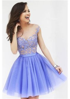 Buy newest & high quality 2015 Lace Applique Cute A-line/Princess Knee Length Prom Dresses. online on Msfairypromdresses.com-Discount Dresses, Fashion Style Shoes, Cheap Bags at Low Price