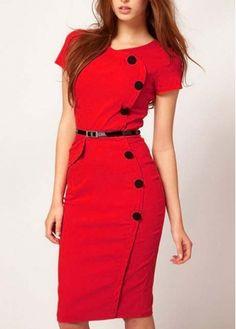 Brilhante Botão Mistura Red Cotton Decoração de manga curta Vestido