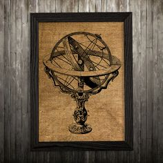 Armillary print. Victorian poster. Antique decor. Steampunk print.  PLEASE NOTE: this is not actual burlap, this is an art print, the image is