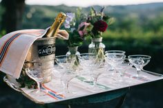 Champagne Tray - Floral Print Wedding Dress by Anna Fuca | Tuscan Treehouse Bridal Inspiration Shoot | Images by Stefano Santucci