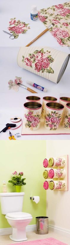Decoupaged tin cans. Bathroom storage.
