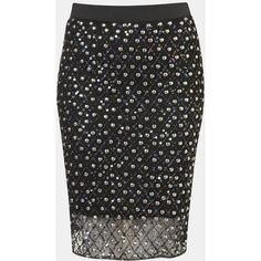 Topshop Embellished Sheer Hem Pencil Skirt ($30) ❤ liked on Polyvore featuring skirts, bottoms, sequin skirt, topshop skirt, embellished skirt, embellished pencil skirt and beaded skirt