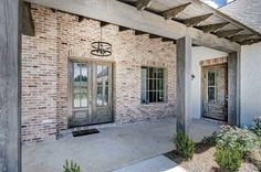 Brick House Exterior Discover Plan Stone and Stucco Beauty with Courtyard Entry Garage Plan Courtyard Entry, Architectural Design House Plans, Brick Exterior House, Stone Houses, Brick Farmhouse, House On The Rock, Exterior Makeover, House Exterior, Exterior Stone