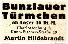 Original-Werbung/ Anzeige 1924 - BUNZLAUER TÜRMCHEN (TÖPFE) / MARTIN HILDEBRANDT - CHARLOTTENBURG  - ca. 35  x 25 mm
