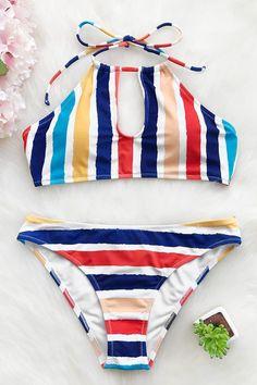 Cupshe Candy Rainbow Halter Bikini Set #Bikinis #swimwear#style#woman#beauty #beach#trends#style#swimsuit