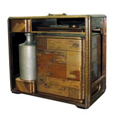 Exquisitely Detailed Japanese Lacquer Picnic Box with Sake Bottles Late 19th C