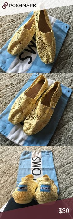 TOM'S  yellow crocheted flats size 10 Gently worn yellow crocheted Tom flats, size 10 with bag. No scuffs or stains! TOMS Shoes Flats & Loafers