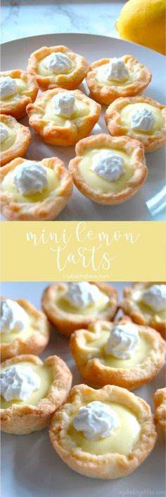 Mini Lemon Tarts - with a buttery, French pastry tart shell and bright and citru. Mini Lemon Tarts - with a buttery, French pastry tart shell and bright and citrusy filling, these mini lemon tarts w Mini Desserts, French Desserts, Delicious Desserts, Dessert Tarts Mini, Plated Desserts, Healthy Lemon Desserts, Gourmet Desserts, French Recipes, Christmas Desserts