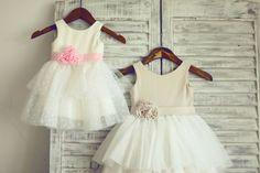 Ivory Cotton Polka Dots Tulle/Pink Flower Girl Dress di misdress, $42.99