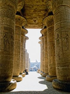 Hypostyle hall of the memorial temple of Ramesses II (1279-1213 BC), 19th Dynasty. Luxor, Egypt
