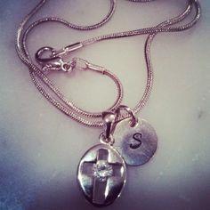 $14  Dainty Diamond Cross + Personalized Disc Necklace
