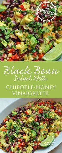 Black Bean & Corn Salad with Chipotle-Honey Vinaigrette - this is one of those one of those crowd-pleasing, make-ahead recipes that everyone loves. In this version, I�ve tossed the salad with a smoky and sweet Chipotle-Honey Vinaigrette. #saladrecipes #bl