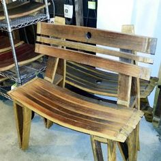 Wine Barrel Bench  http://montanacitywinedrygoods.com/collections/wine-barrel-furniture/products/wine-barrel-bench#