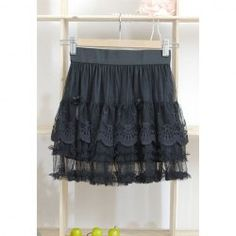 $6.38 Preppy Style Elastic Waist Lace Embellished Layers Georgette Skirt For Women