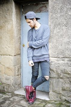 ripped skinny jeans, bordeaux dr martens hat cap sweater sweatshirt style fashion men tumblr streetstyle