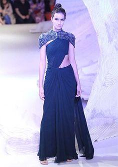 Gaurav Gupta At India Couture Week 2016 Saree gown navy blue with caped shrug Saree Gown, Lehenga, Anarkali, Indian Dresses, Indian Outfits, Indian Saris, Pakistani Dresses, Modern Saree, Stylish Sarees