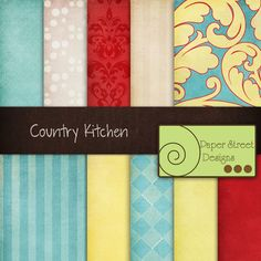 paper country kitchen teal red yellow